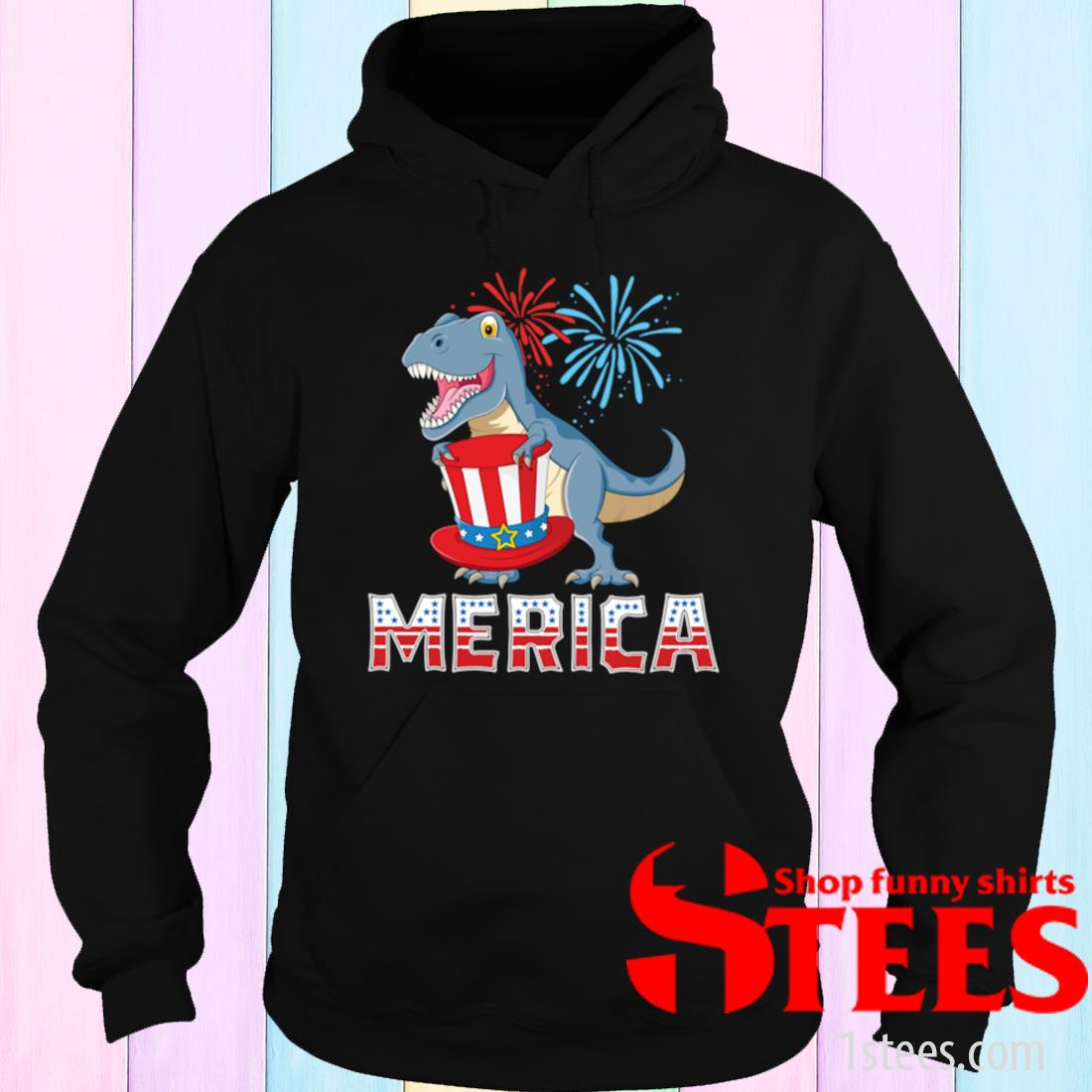T- Rex Merica American Dinosaur 4th of July Patriotic Shirt hoodie