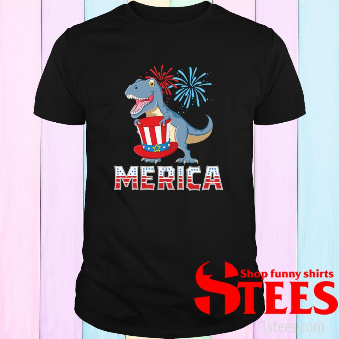 T- Rex Merica American Dinosaur 4th of July Patriotic Shirt