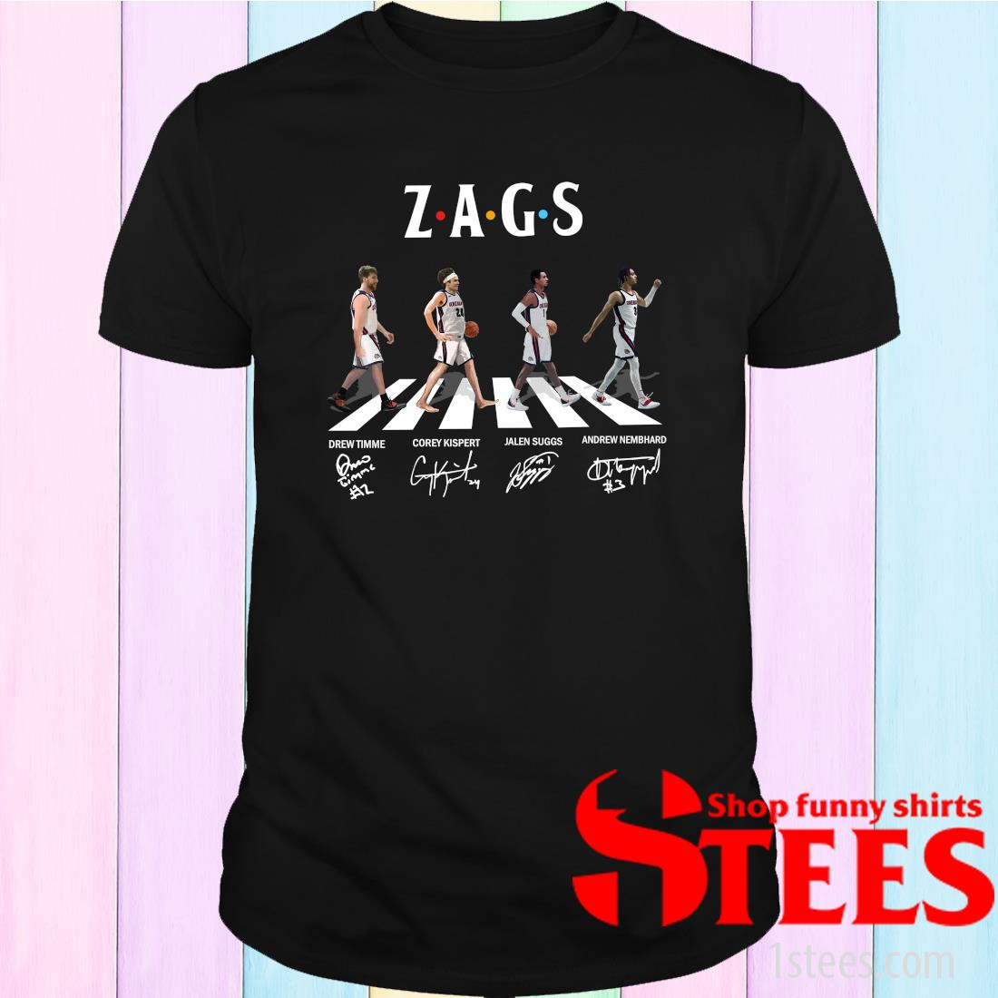 Zags Abbey Road Signatures 2021 T-Shirt
