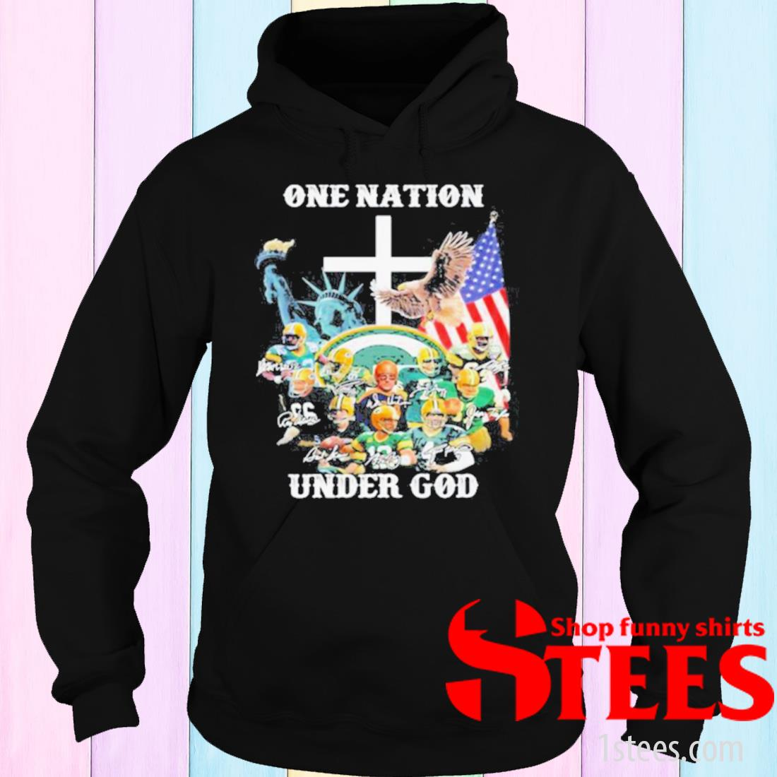 One Nation Under God Green Bay Packers Signature Shirt hoodie