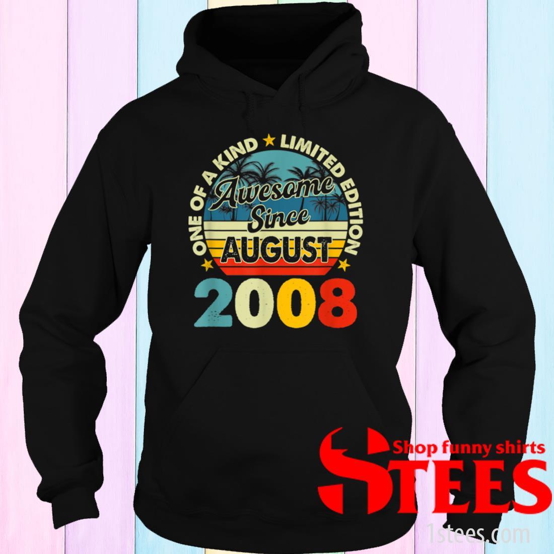 Vintage August 2008 13 Year Old Retro 13th Birthday Shirt hoodie