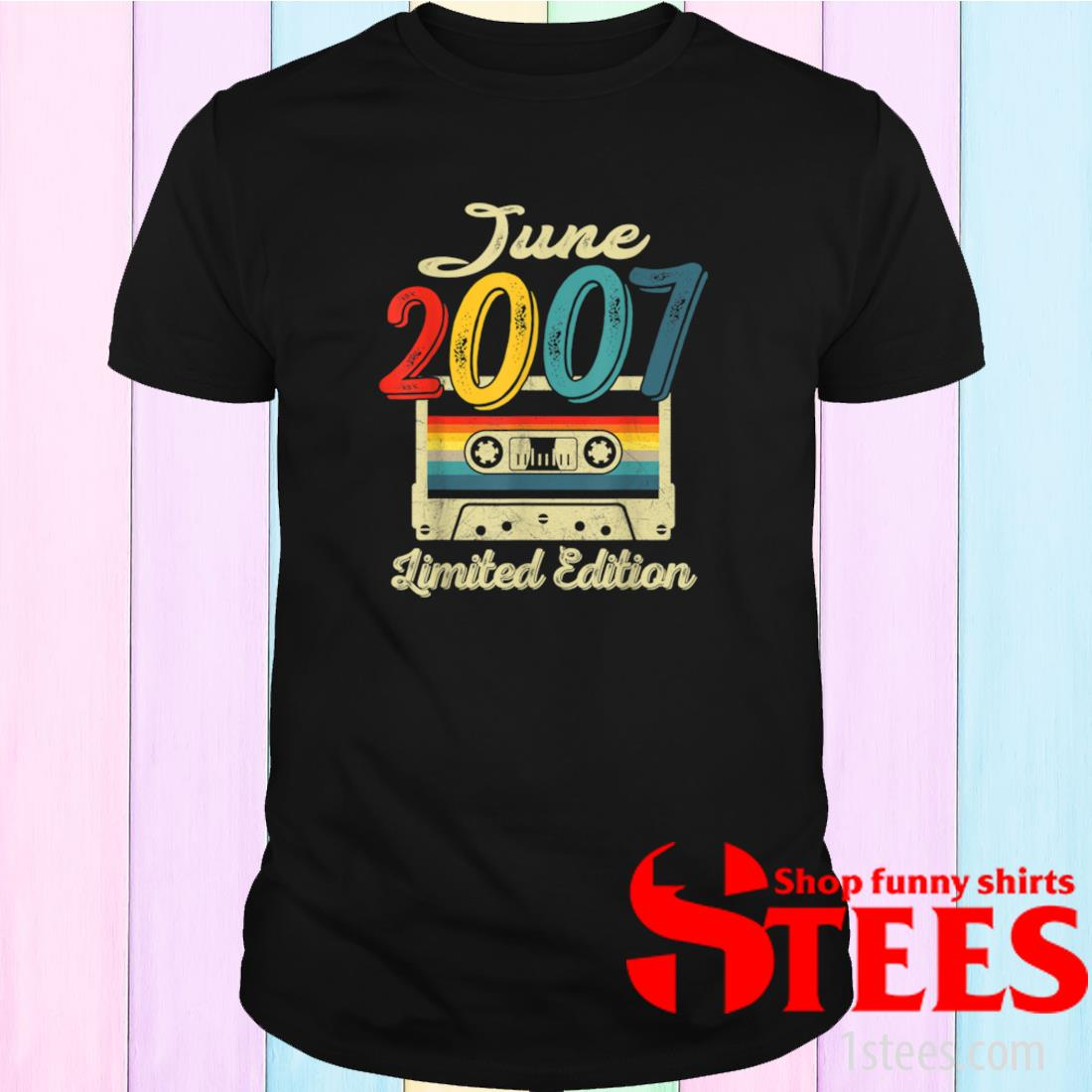 Vintage June 2007 Cassette Tape 14th Birthday Decorations Shirt