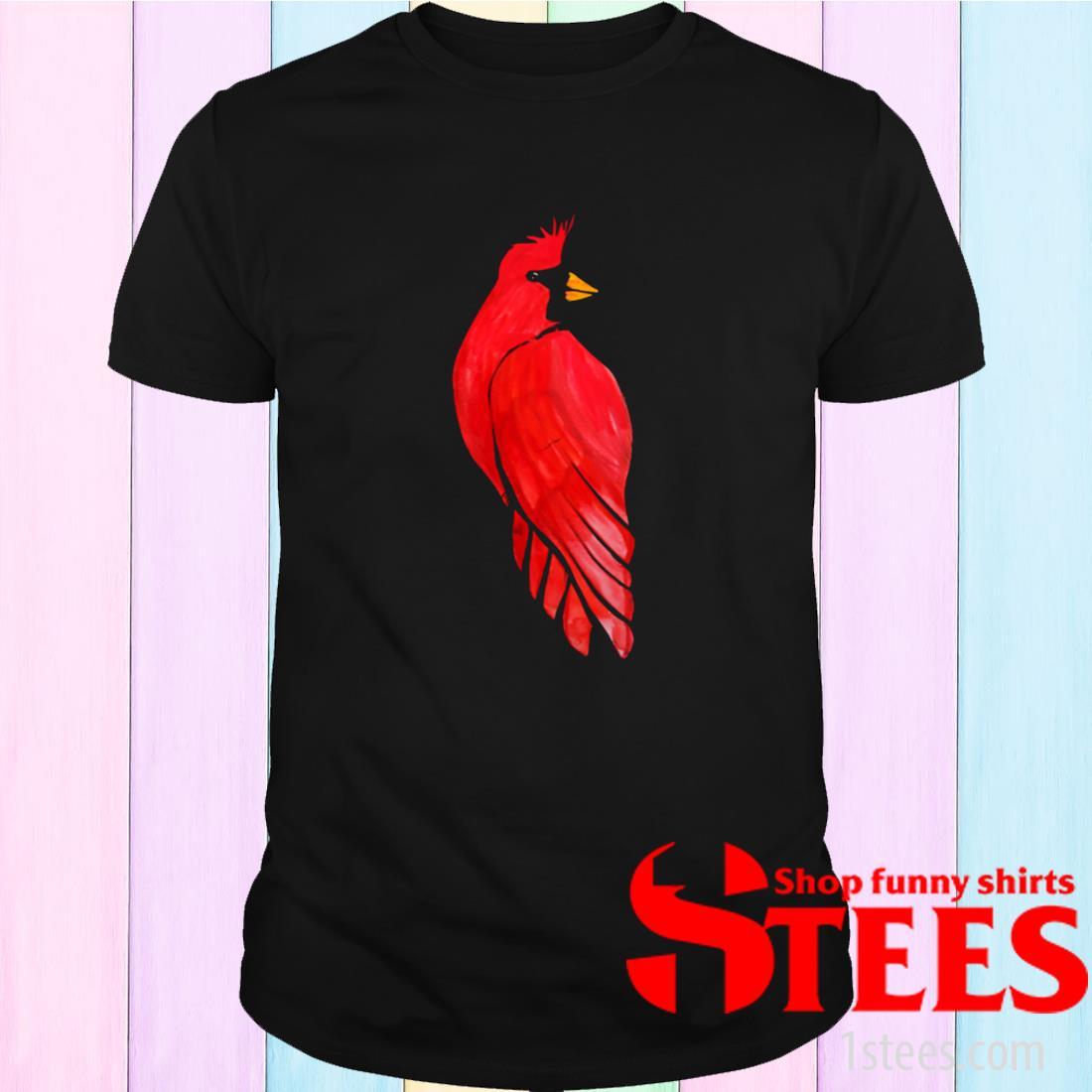 Women's Red Cardinal Bird Watercolor Shirt