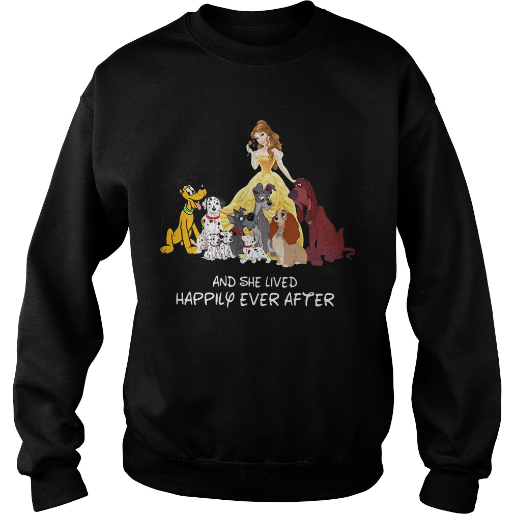 Belle and dogs and she lived happily ever after shirt hoodie for Disney happily ever after shirt