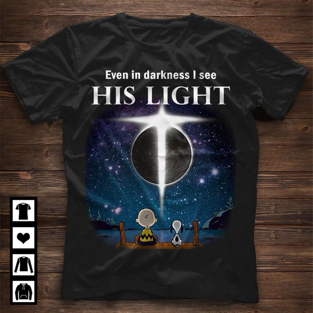 Snoopy and Charlie Brown: Even in darkness I see his light shirt