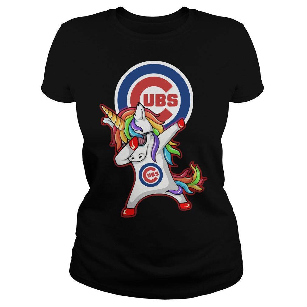 Unicorn Dabbing Chicago Cubs Ladies t-shirt