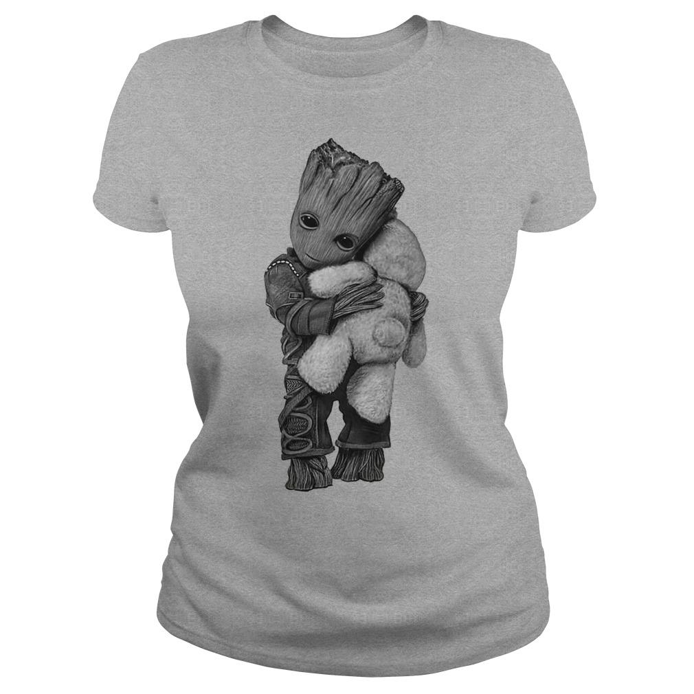Baby groot hug Teddy Bear ladies tee