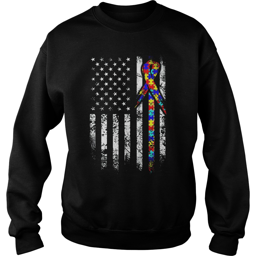 Breast Cancer Autism Flag Sweater