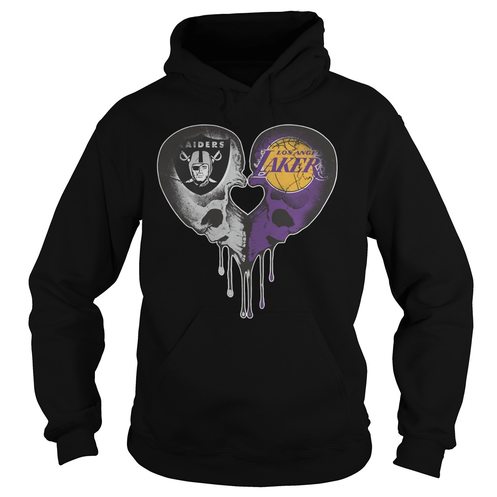 Raiders and Los Angeles Lakers in skull heart Hoodie