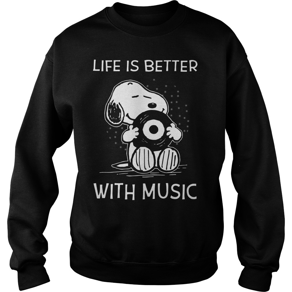 Snoopy life is better with music Sweater