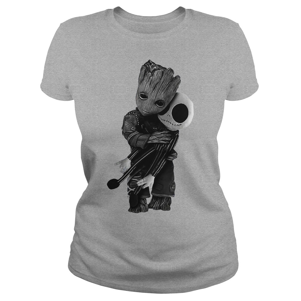 Groot hug Jack Skellington Ladies shirt