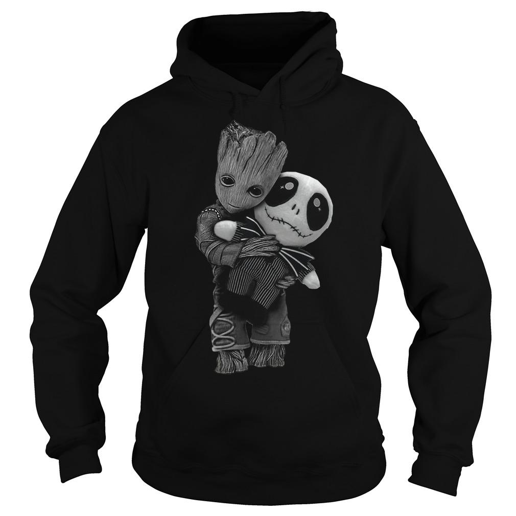 Groot hug tiny Jack Skellington hoodie