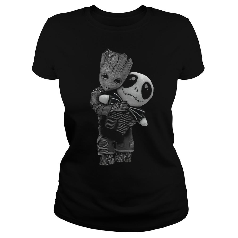 Groot hug tiny Jack Skellington ladies shirt
