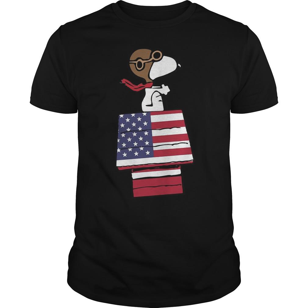 Snoopy flying US flag house shirt