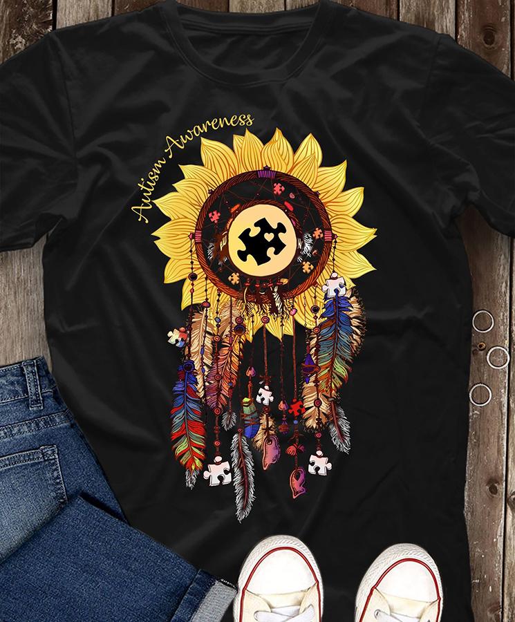 Autism awareness sunflower dreamcatcher shirt