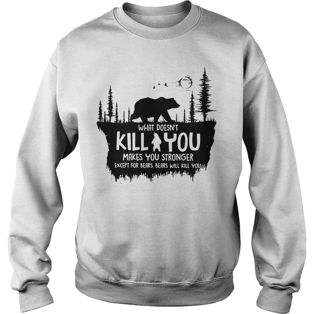What doesn't kill you makes you stronger except for bears bears will kill you sweater