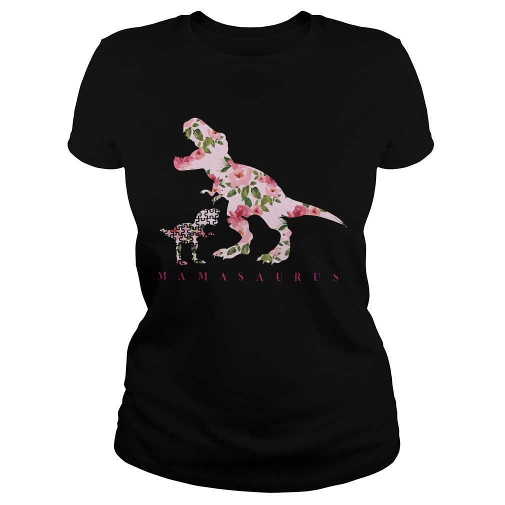 Autism Awareness: Mamasaurus floral ladies shirt