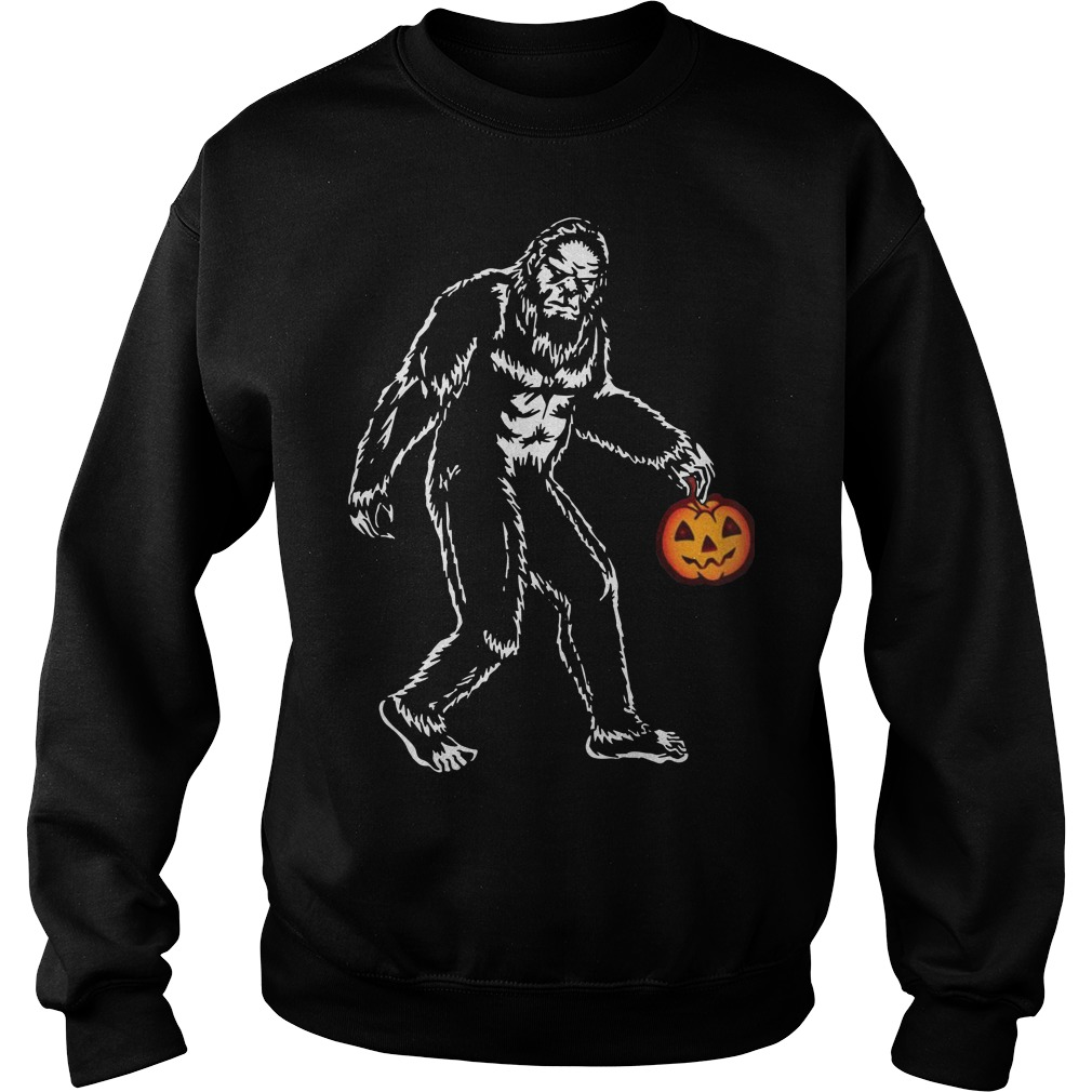 Bigfoot hold pumpkins halloween sweater