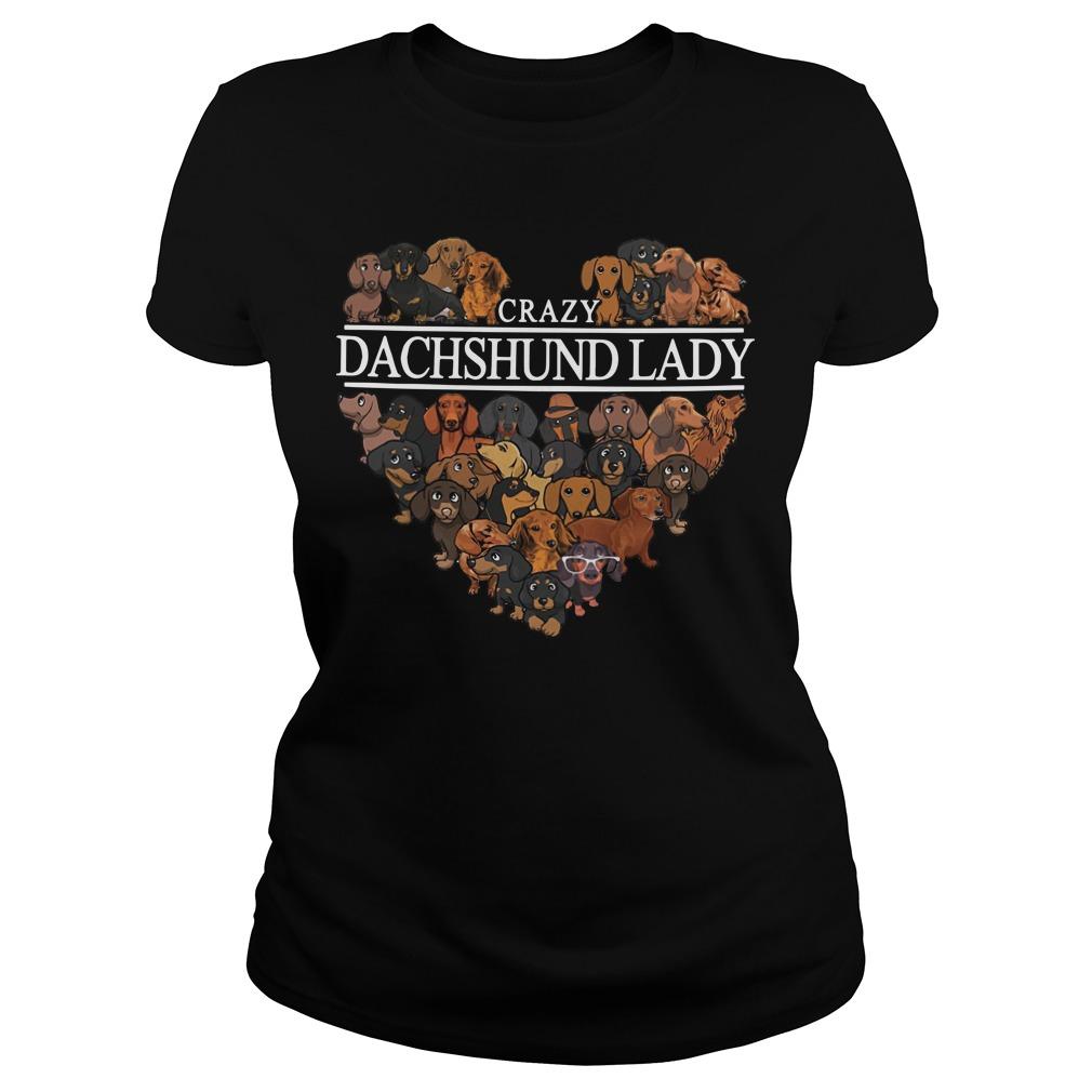 Crazy Dachshund lady aholic ladies shirt