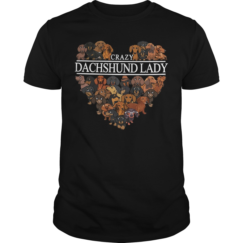 Crazy Dachshund lady aholic Guys shirt