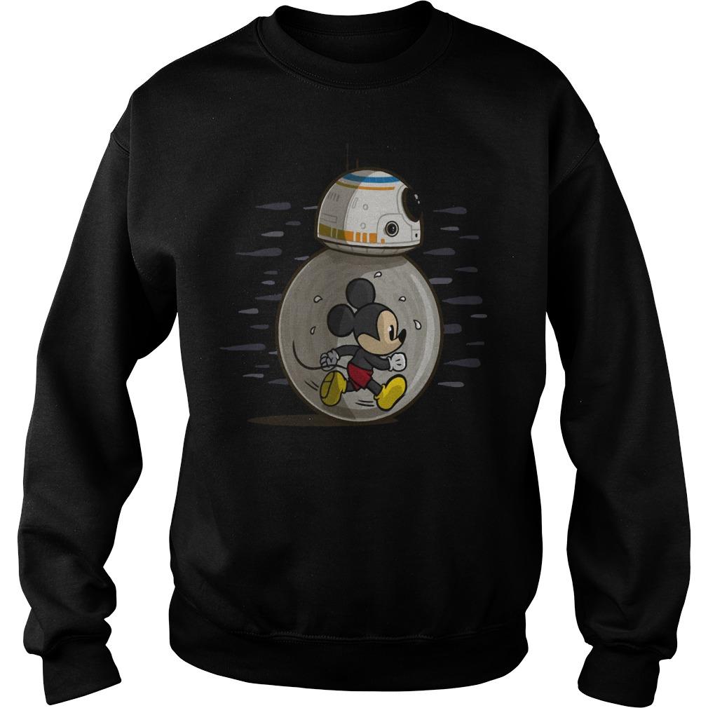 Mickey run in BB-8 Star Wars sweater