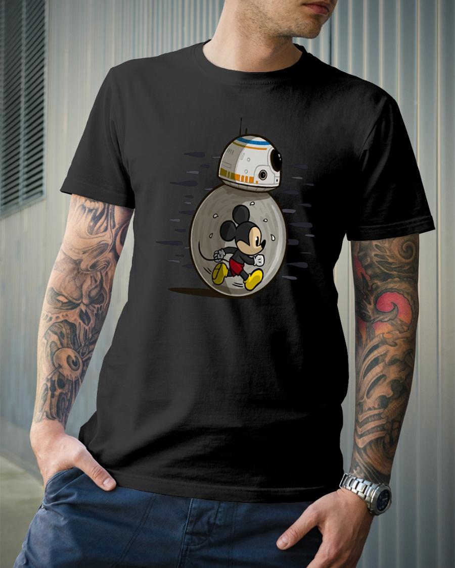 Mickey run in BB-8 Star Wars shirt