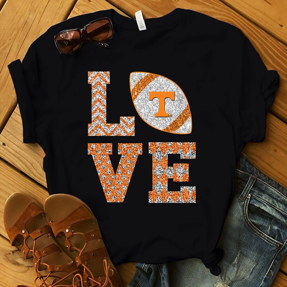 Tennessee Volunteers Stacked Love Football Sparkle Pattern shirt