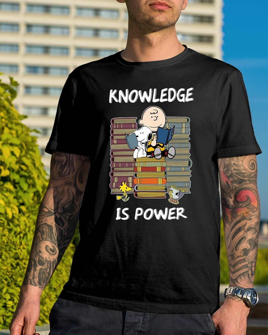 Charlie Brown and Snoopy knowledge is power reading shirt