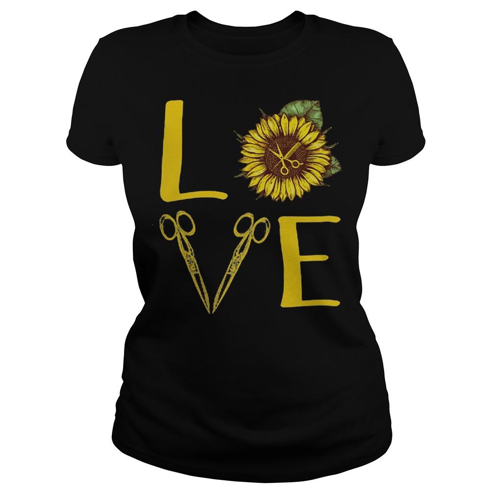 Hair Stylist Love Sunflower Scissors ladies shirt