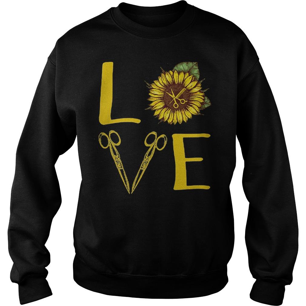 Hair Stylist Love Sunflower Scissors sweater