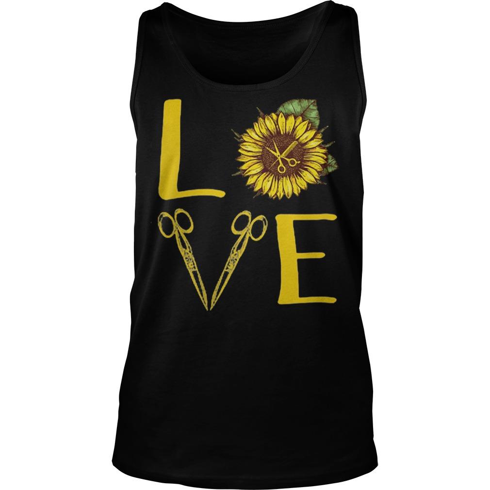 Hair Stylist Love Sunflower Scissors tank top