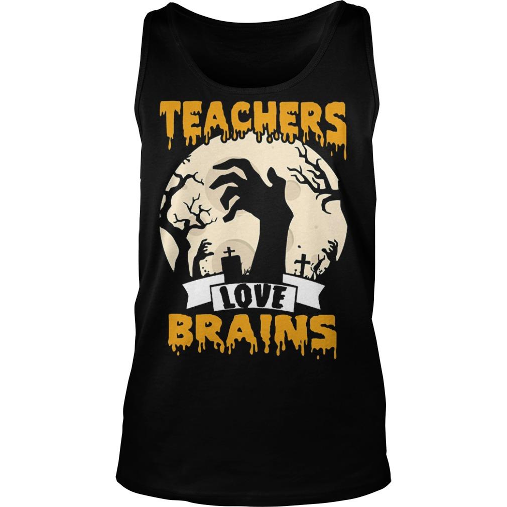 Halloween Teachers love brains tank top