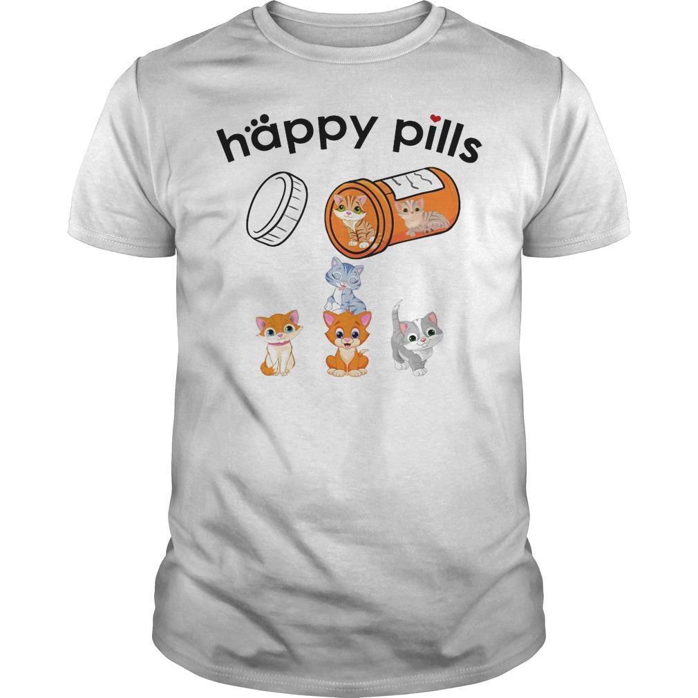 Happy pills cat Guys t-shirt