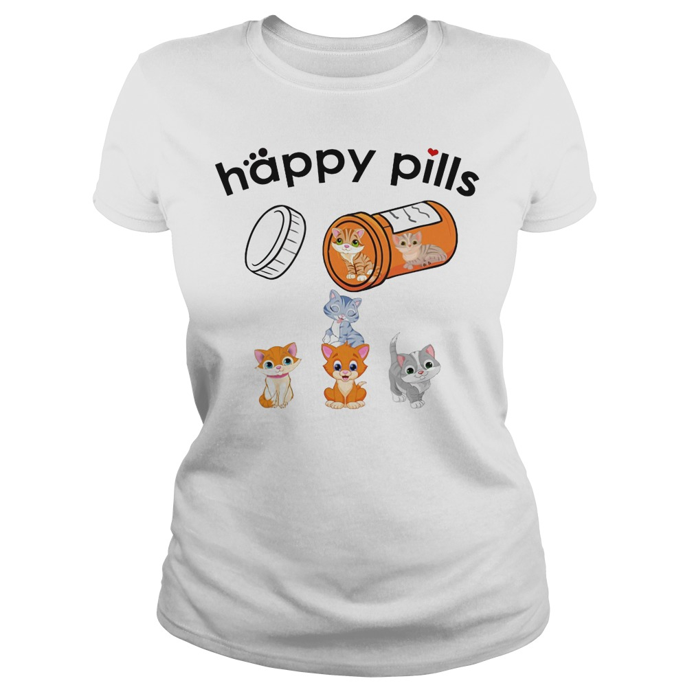 Happy pills cat Ladies t-shirt