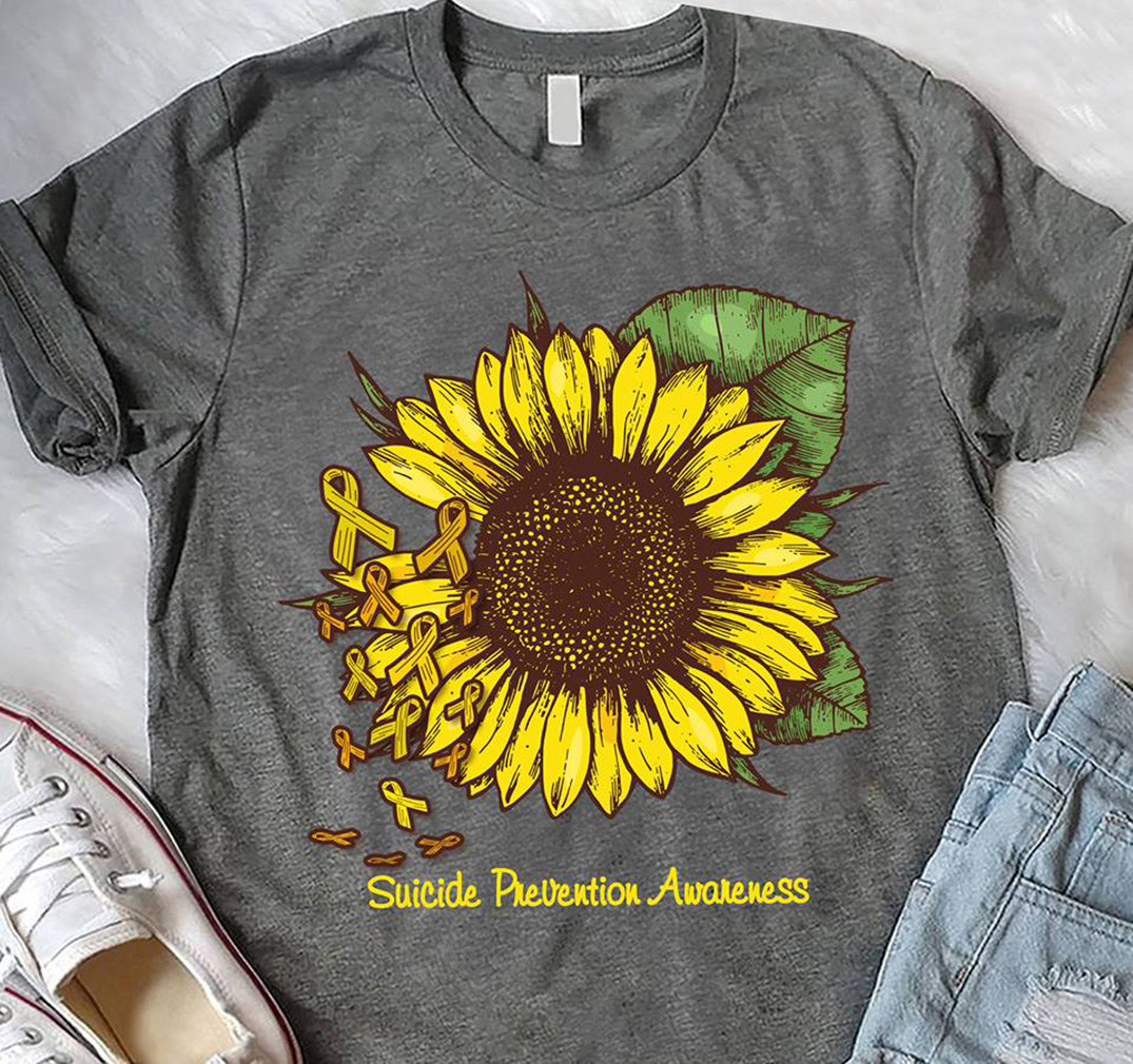 Sunflower breast cancer: Suicide prevention awareness shirt