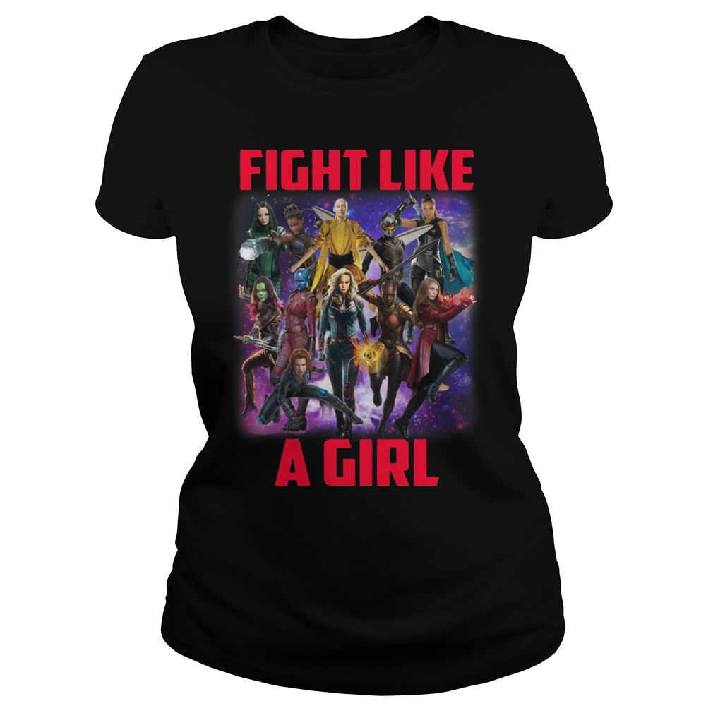 Captain Marvel fight like a girl Ladies t-shirt
