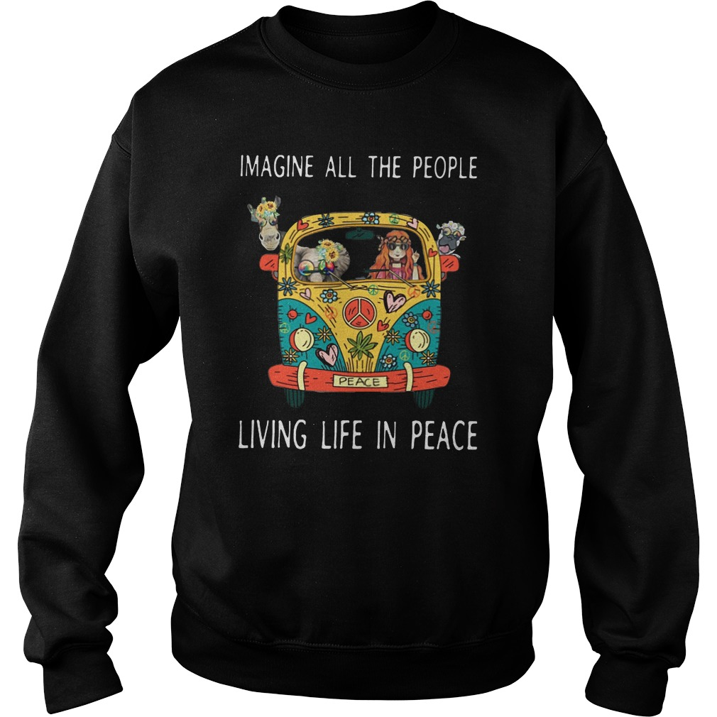 Hippe peace Imagine all the people living life in peace Sweater
