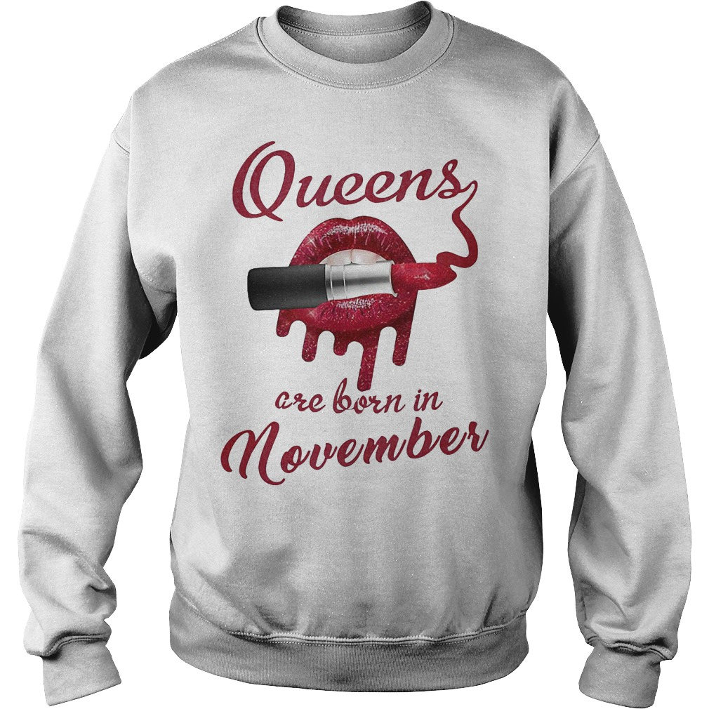 Queens are born in November red lip lipstick hoodie