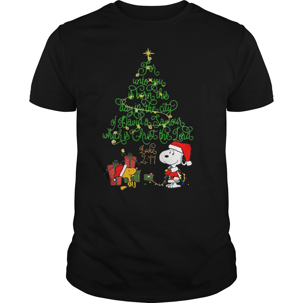 Snoopy for unto you is born this day in the city of David Christmas tree T-shirt