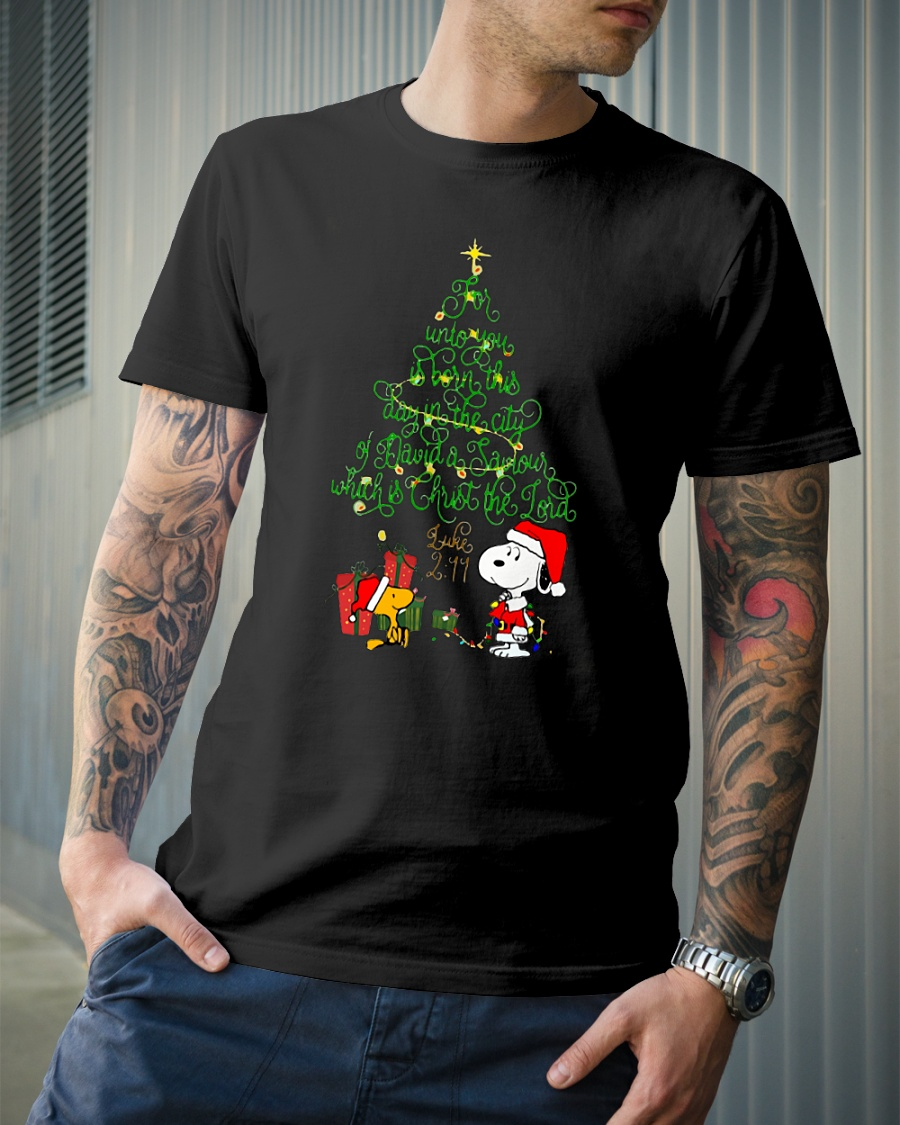 Snoopy for unto you is born this day in the city of David Christmas tree sweater