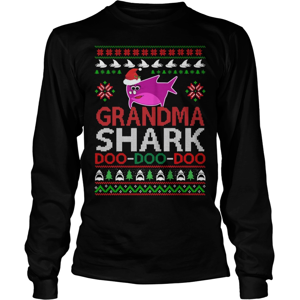 grandma shark doo doo doo ugly christmas longsleeve - Shark Christmas Sweater