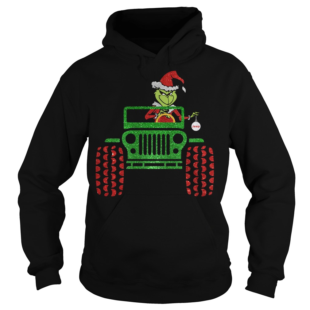 The Grinch driving jeep Christmas HoodieThe Grinch driving jeep Christmas Hoodie