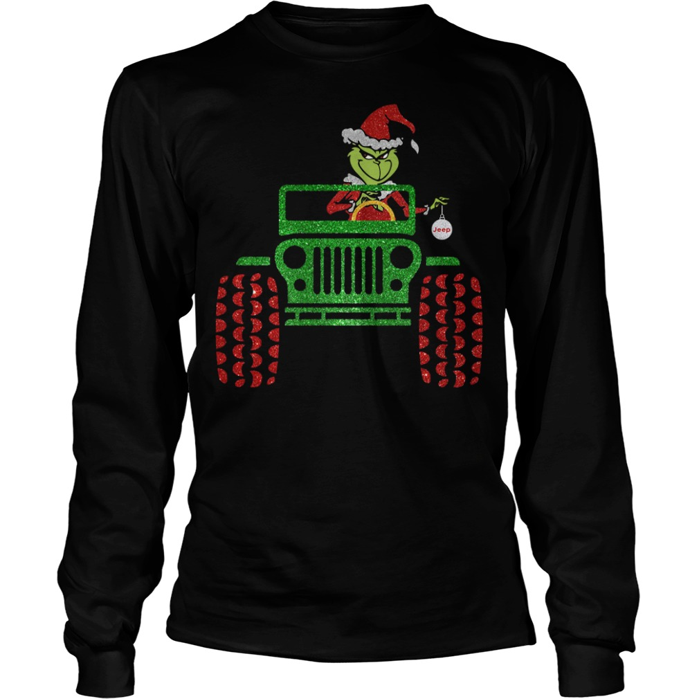 The Grinch driving jeep Christmas Longsleeve