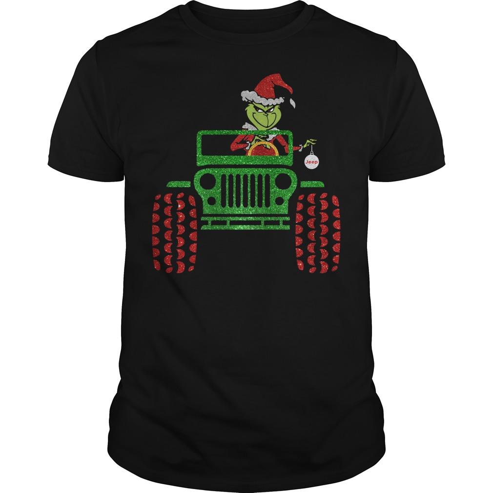 The Grinch driving jeep Christmas Shirt