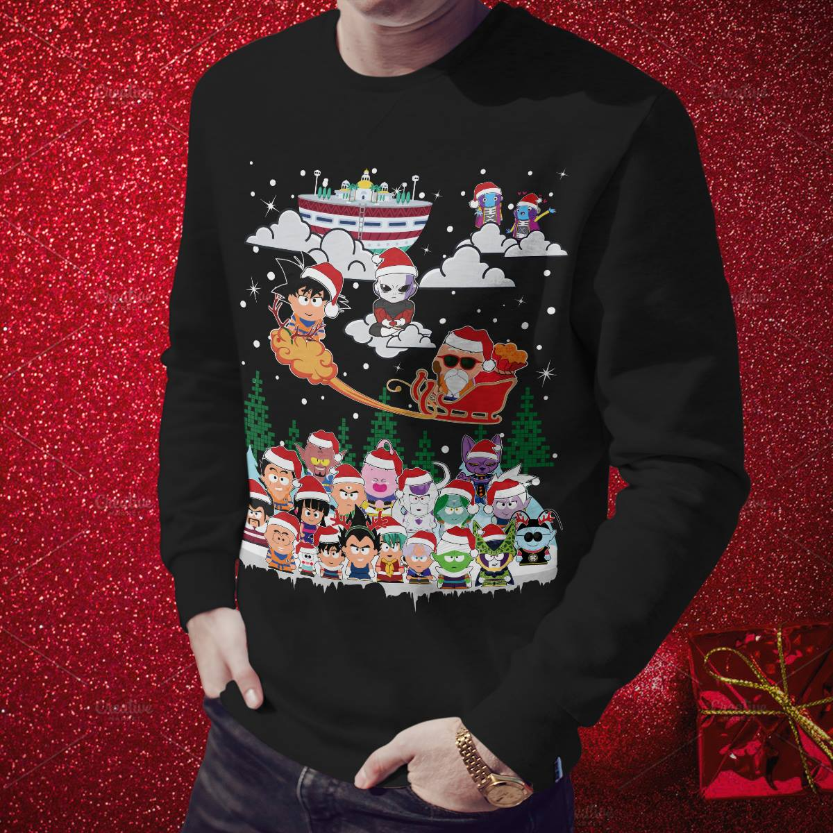 Chibi Dragon Ball Z Characters Ugly Christmas Sweater Hoodie Long