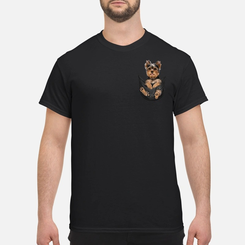 Yorkshire Terrier in a pocket T-shirt