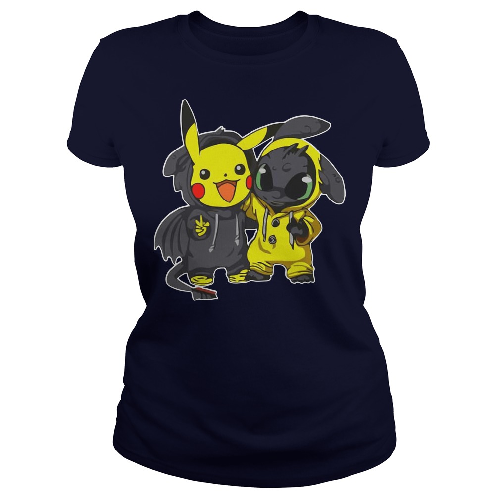 Pikachu and Toothless ladies tee
