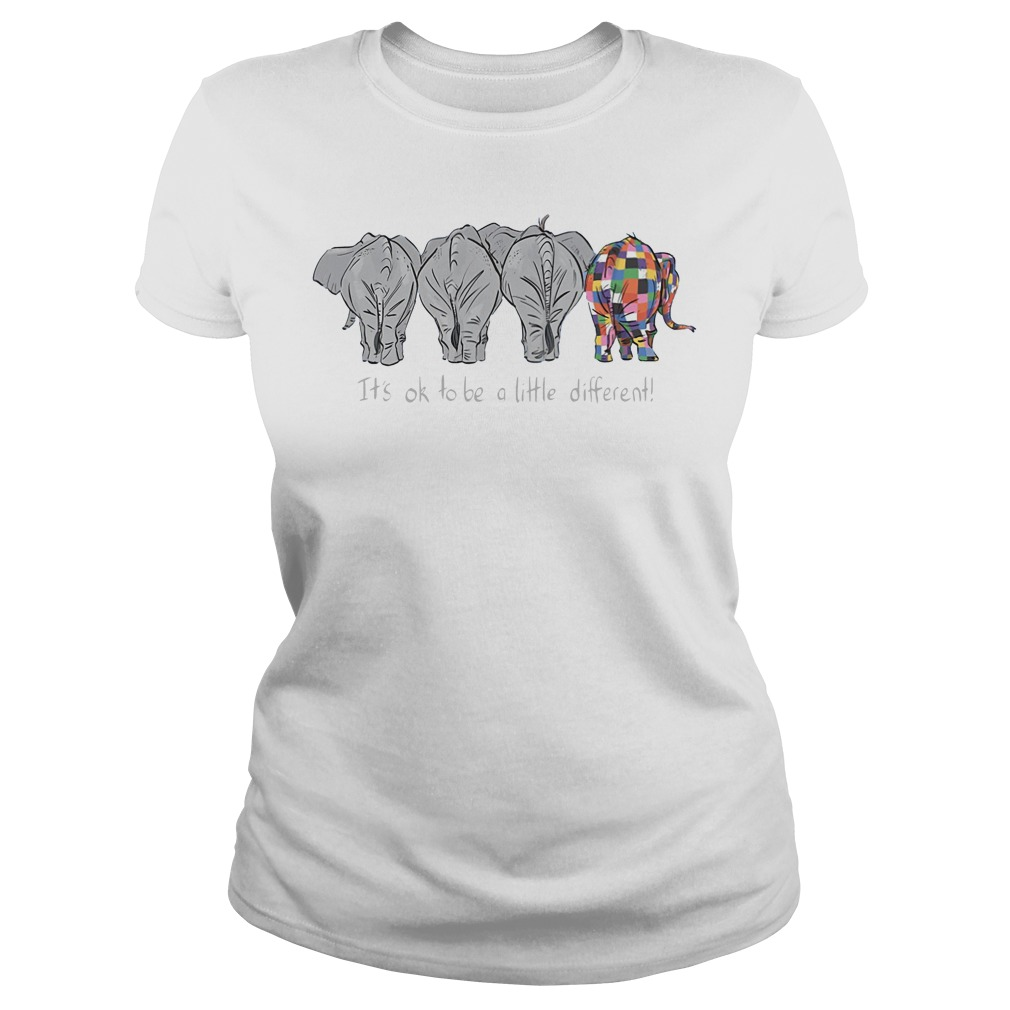 Autism Elephant It's ok to be a little different ladies tee
