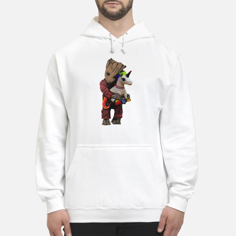 Baby Groot hug unicorn hoodie