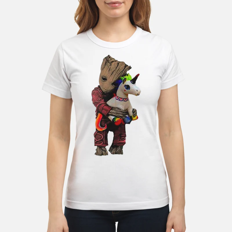 Baby Groot hug unicorn ladies tee